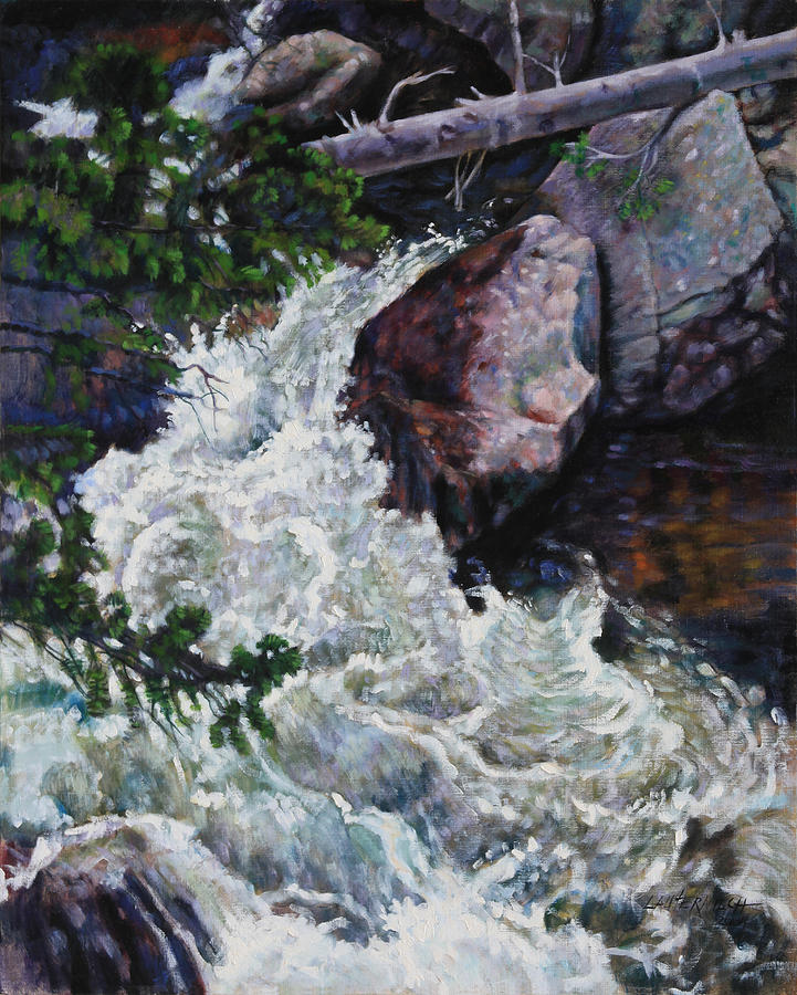 Waterfall Painting - Rushing Stream Colorado by John Lautermilch