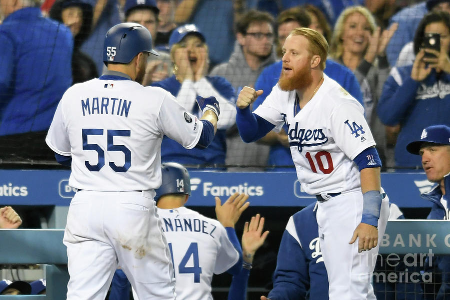 Russell Martin and Justin Turner Photograph by John Mccoy