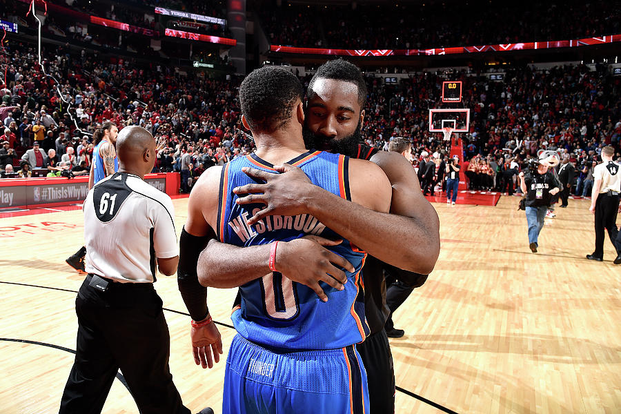 Russell Westbrook and James Harden Photograph by Bill Baptist