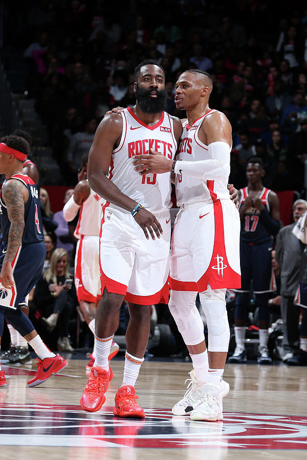 Russell Westbrook and James Harden Photograph by Stephen Gosling