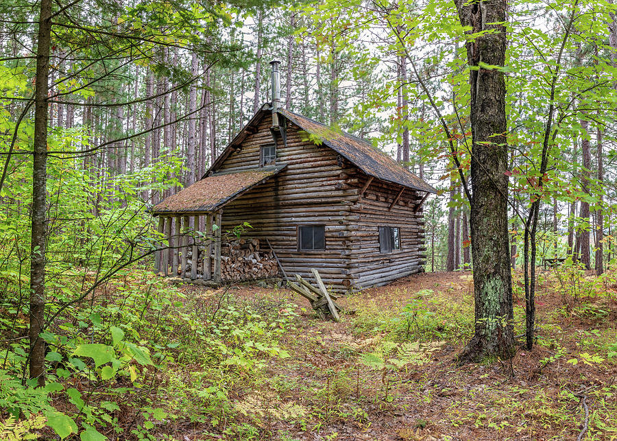 Rustic Cabin In The Woods Photograph