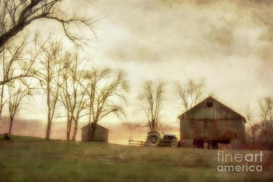 Rustic Farm Barn And Tractor Digital Art