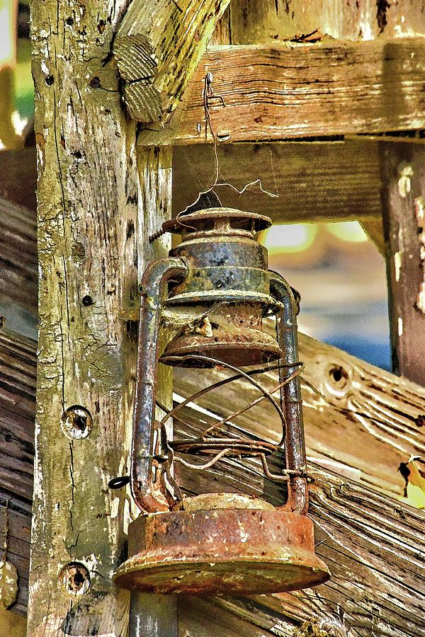 Rusty Miners Lantern Abstract 1  by Linda Brody