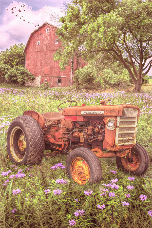 Rusty Red Country Tractor by Debra and Dave Vanderlaan