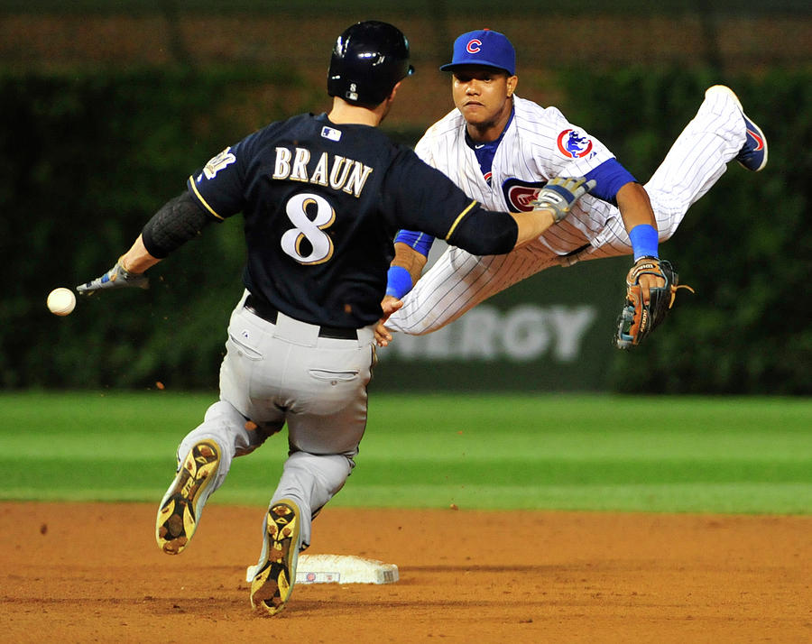 Ryan Braun and Starlin Castro Photograph by David Banks
