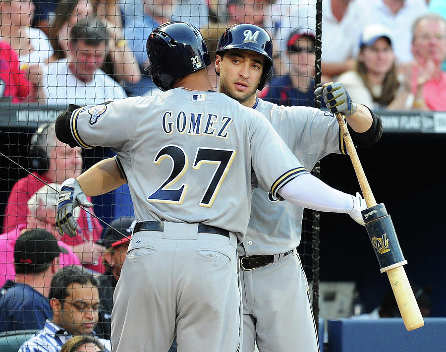 Ryan Braun, Carlos Gomez, and Ervin Santana Photograph by Scott Cunningham