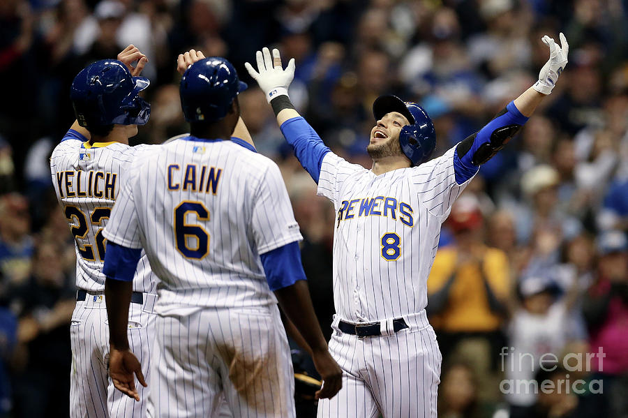 Ryan Braun, Christian Yelich, And Lorenzo Cain Photograph by Dylan Buell