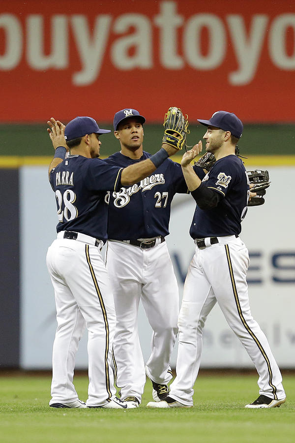 Ryan Braun, Gerardo Parra, and Carlos Gomez Photograph by Mike Mcginnis