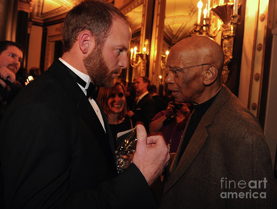 Ryan Dempster and Ernie Banks Photograph by Rick Diamond