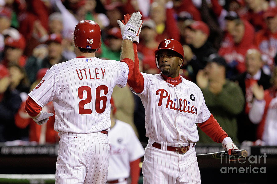 Ryan Howard, Jimmy Rollins, and Chase Utley Photograph by Rob Carr