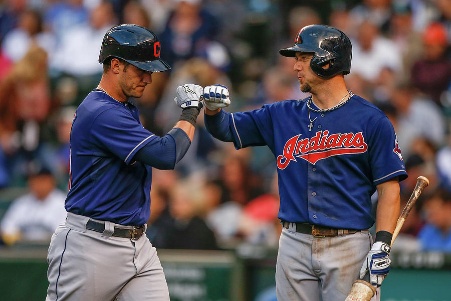 Ryan Raburn and Yan Gomes Photograph by Otto Greule Jr