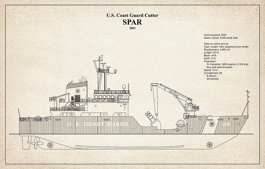 s01 - United States Coast Guard Cutter Spar wlb-206 by JESP Art and Decor