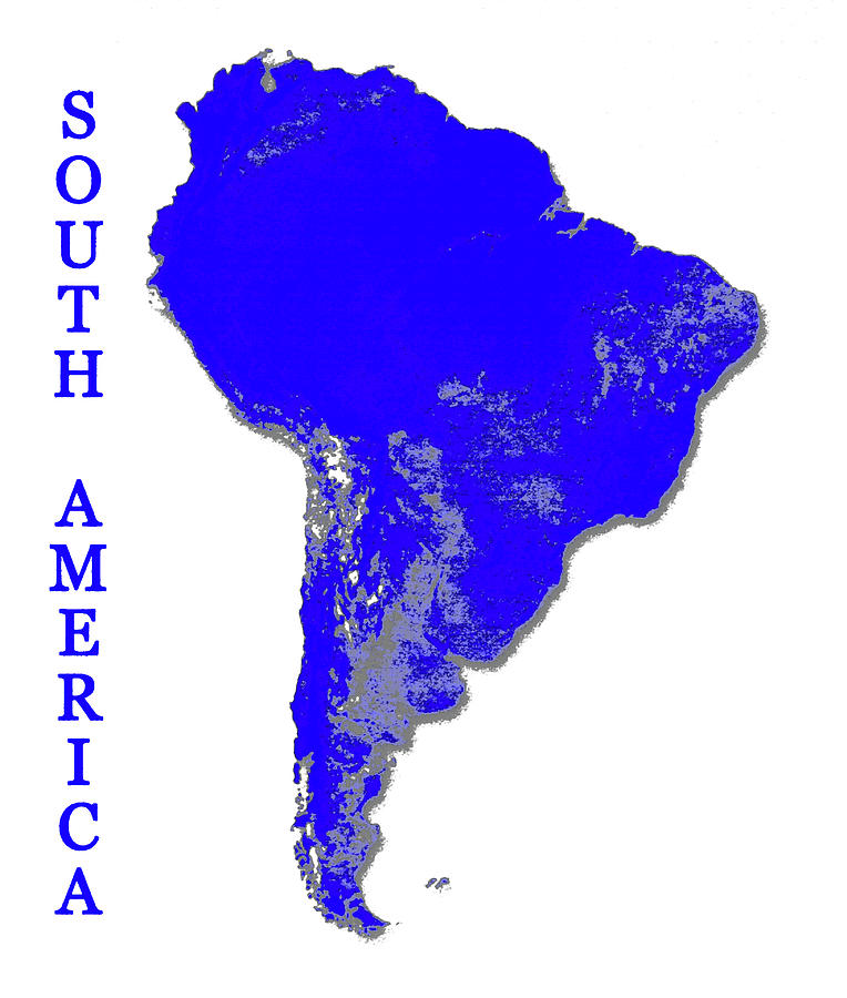 South America Vertical Print, Digital Art