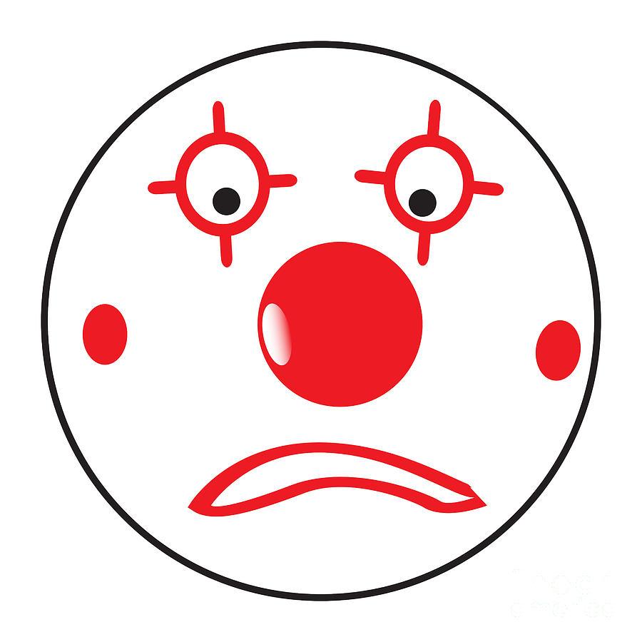 Sad Clown Smile Face Button Emoticon by Bigalbaloo Stock