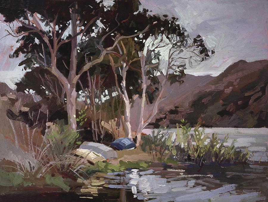 Papa Painting - Safe Shelter   Plein Air Catalina Island by Betty Jean Billups