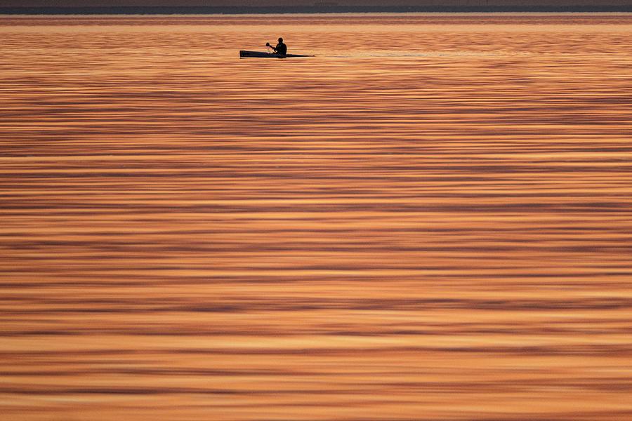 Calm Photograph - Saffron seas by Leigh Henningham