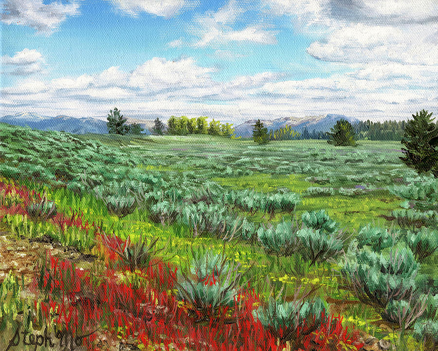 Jackson Painting - Sagebrush Plains by Steph Moraca