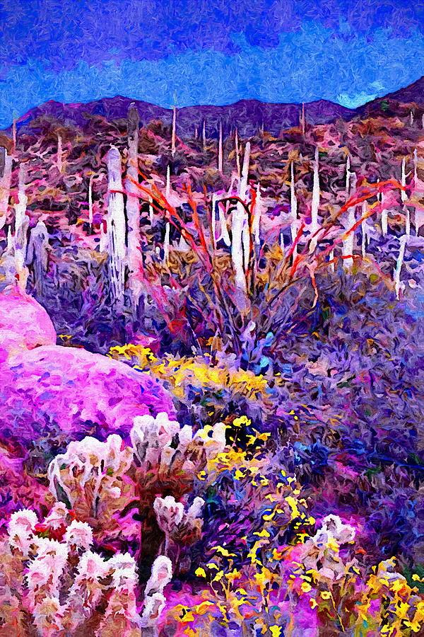 Saguaro Cactus At Sunset Painting
