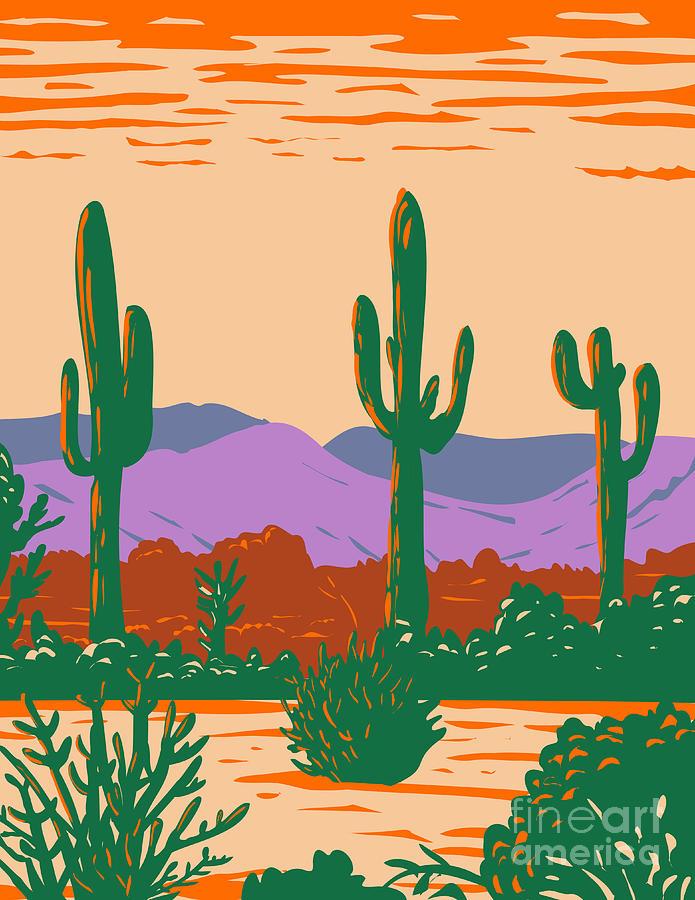 Saguaro Cactus In Sonoran Desert National Monument Located South Of Buckeye And East Of Gila Bend Arizona Wpa Poster Art Digital Art