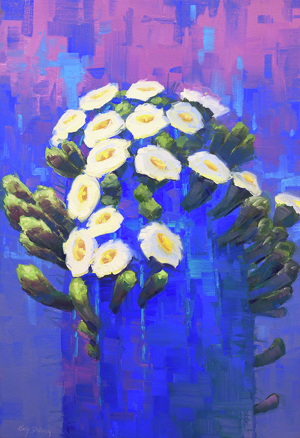 Saguaro In Blue Painting