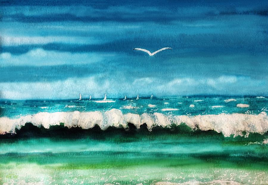 Sail Boats On The Horizon Painting