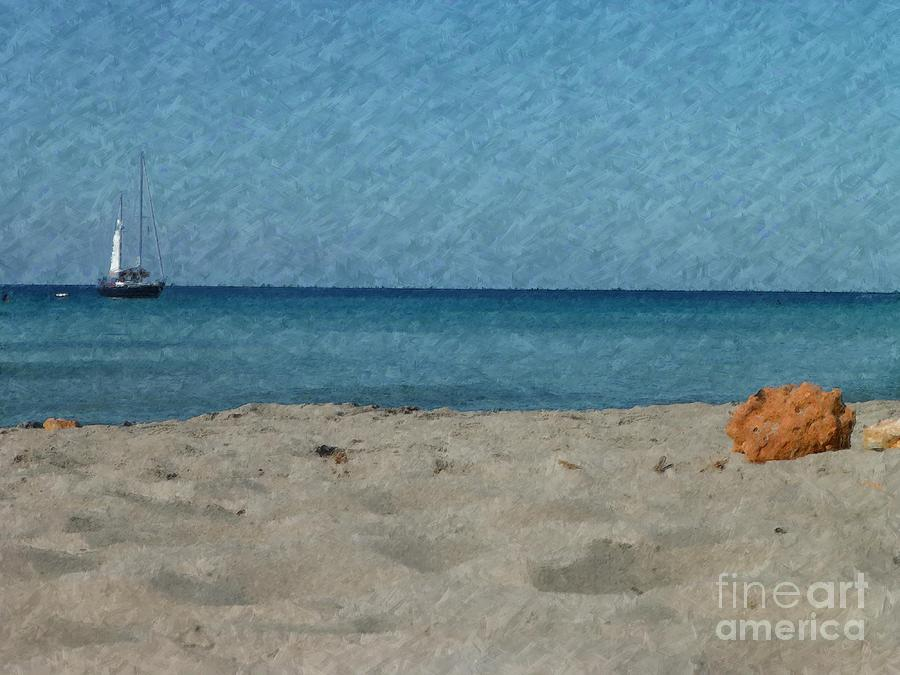 Sailboat Beach Impressionism by Dee Flouton