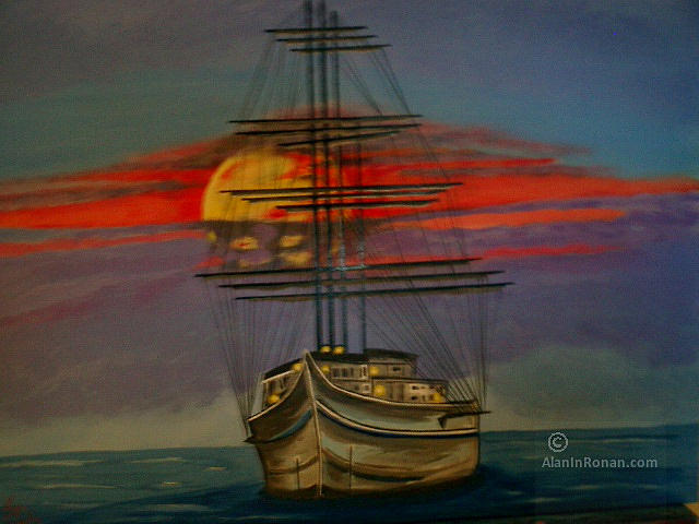 Sailboat in Sunset Painting by Alan Findly