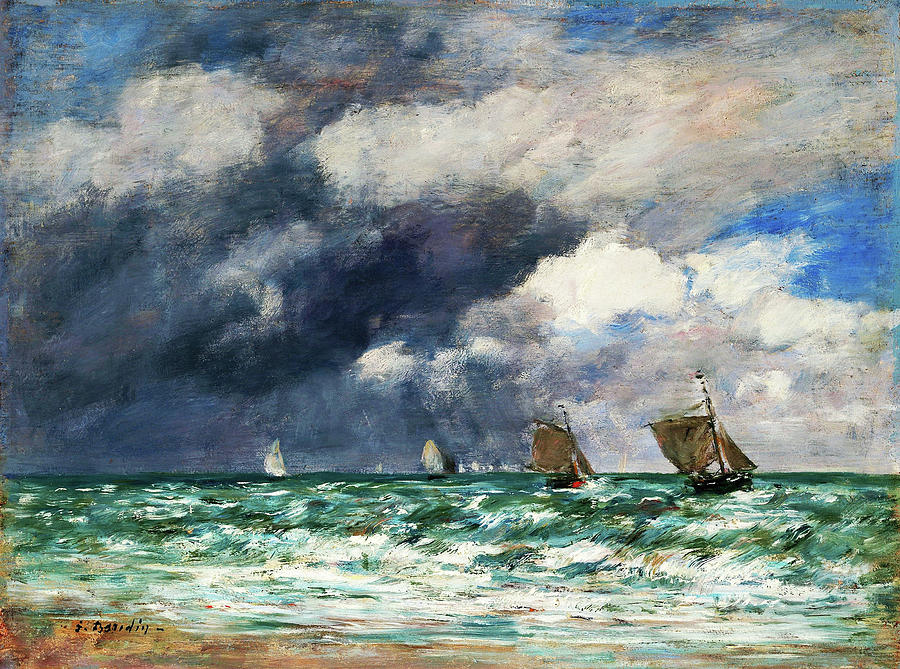 Eugene Louis Boudin Painting - Sailboats Near Trouville - Digital Remastered Edition by Eugene Louis Boudin