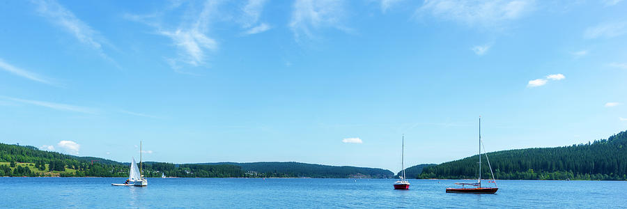 Color Photograph - Sailboats On The Lake Schluchsee by Vicen Photography