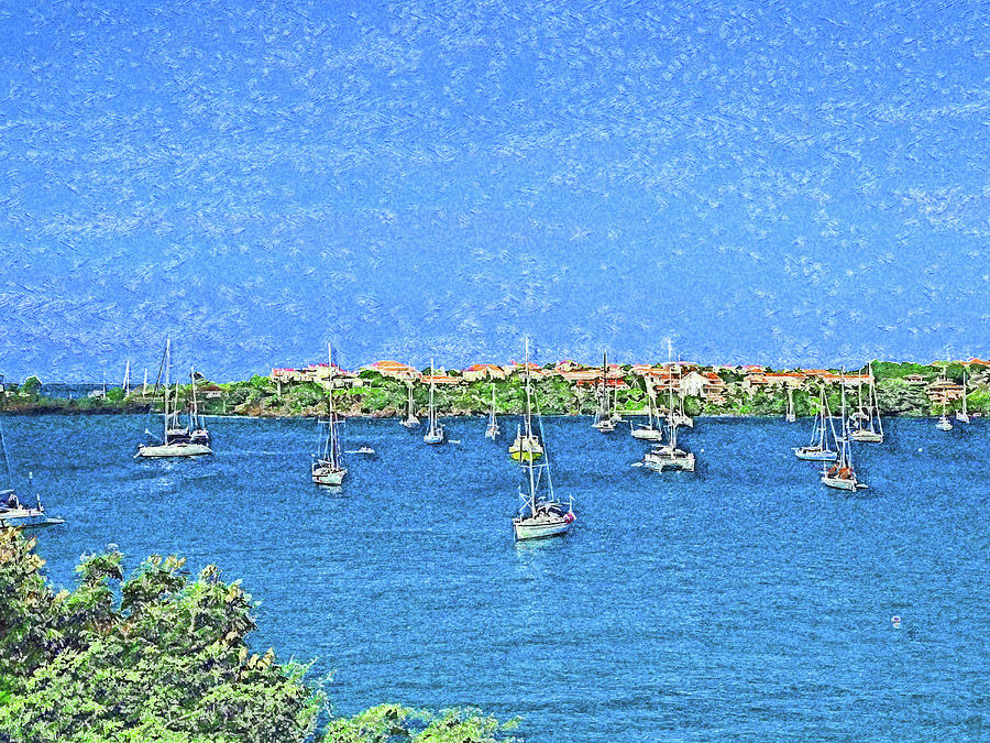 Sailboats Resting in Prickly Bay Impressionism by Island Hoppers Art