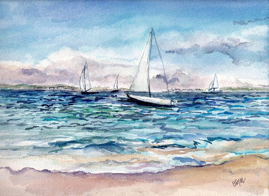 Sailing Day Barnegat Bay by Clara Sue Beym