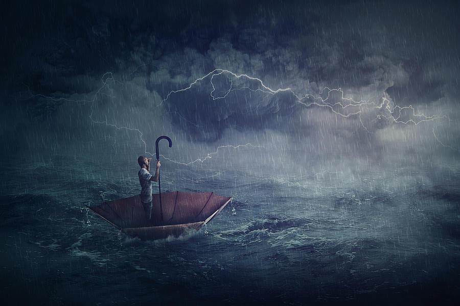 Sailing On Umbrella Boat Photograph