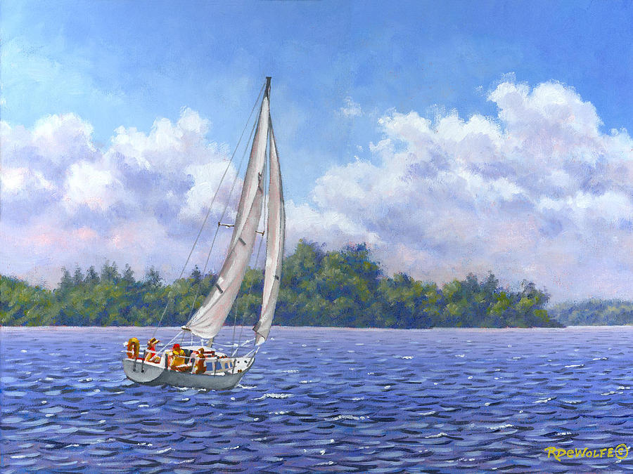Sailing Painting - Sailing the Reach by Richard De Wolfe