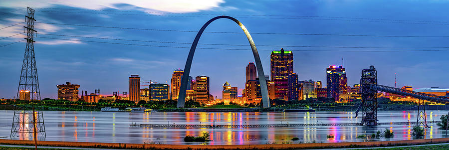 Saint Louis Arch Panoramic Skyline Over The Mississippi River Photograph