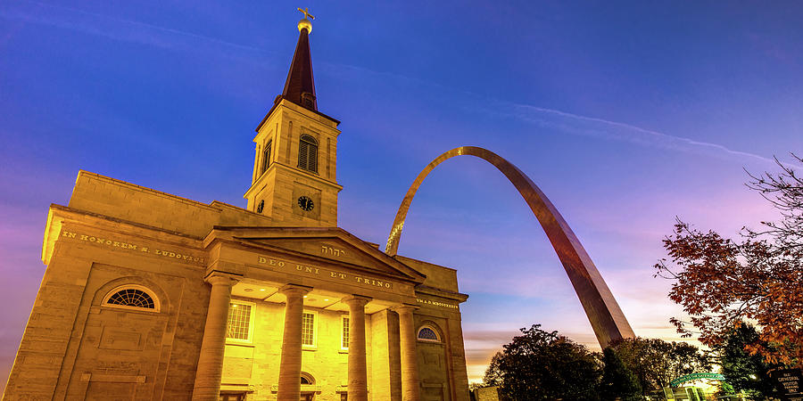 Saint Louis Gateway Arch And Old Cathedral Panorama Photograph