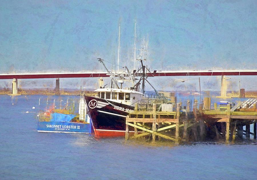 Sakonnet Fishing Scene by NANCY DE FLON