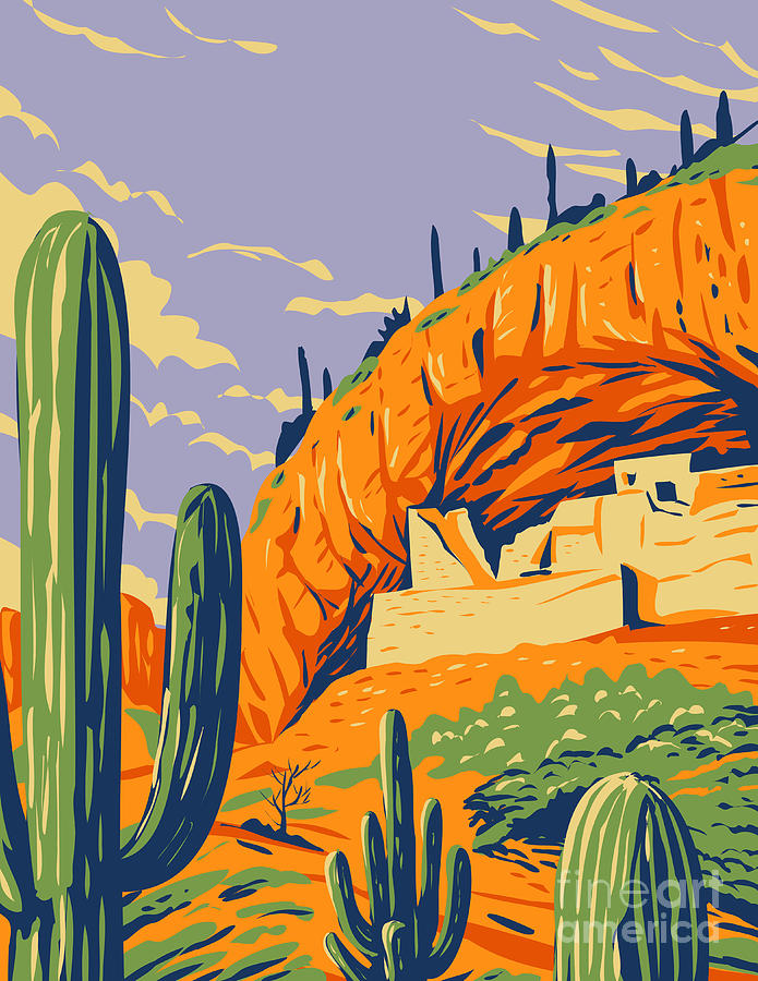 Salado-style Cliff Dwelling And Saguaro Cactus In Tonto National Monument In Superstition Mountains Located In Gila County Arizona Wpa Poster Art Digital Art
