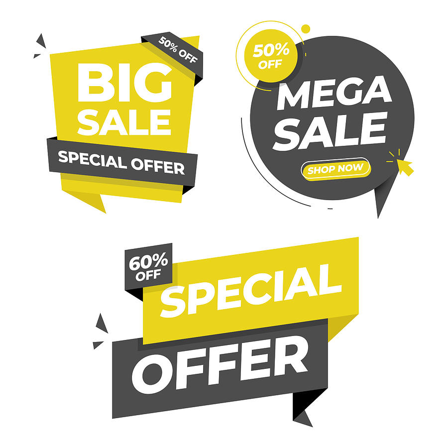 Sale Tag and Banner Icon Set. Special Offer, Big Sale, Discount, Mega Sale and Online Shopping Banner Template Vector Design on White Background. Drawing by Designer29