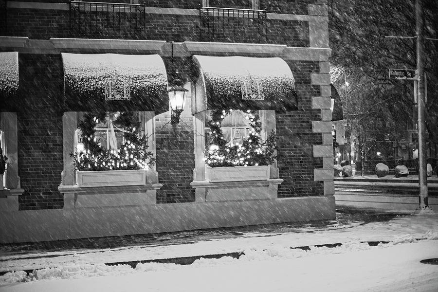 Salem Christmas Wreaths Salem MA Snowstorm Christmas Black and White by Toby McGuire