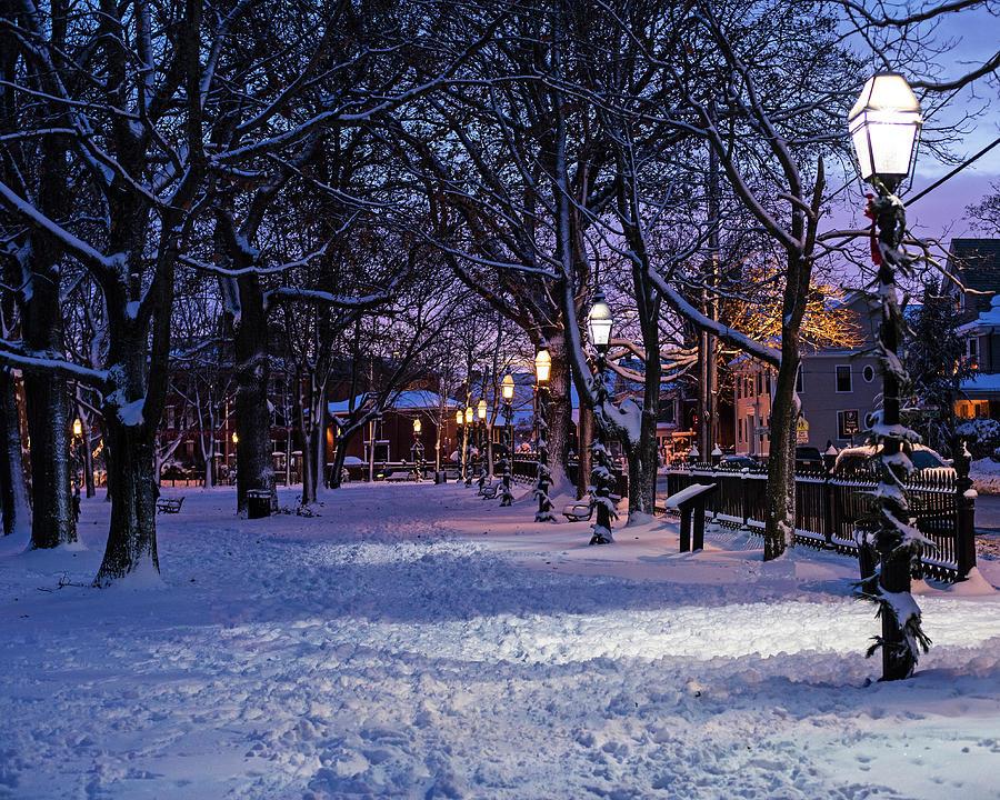 Salem MA Salem Common Lanterns Winter Snow Christmas by Toby McGuire