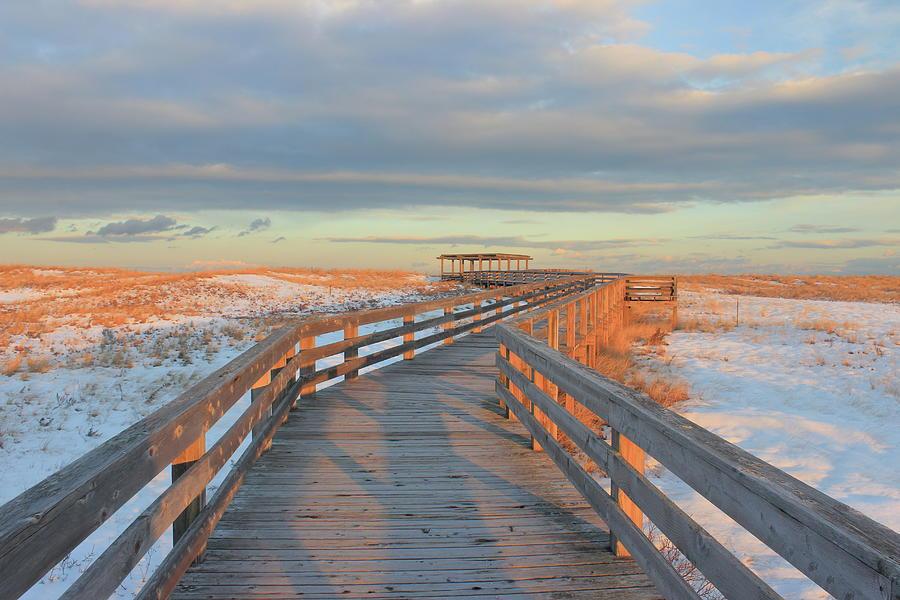 Winter Photograph - Salisbury Beach Boardwalk in Winter by John Burk
