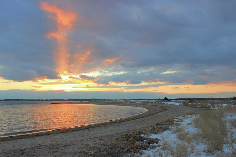 Salisbury Beach Sunset Shaft Photograph