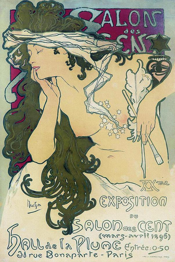 Art Nouveau Design Painting - Salon des Cent XXme Exposition 1896 Mucha Art Nouveau Poster by Alphonse Mucha