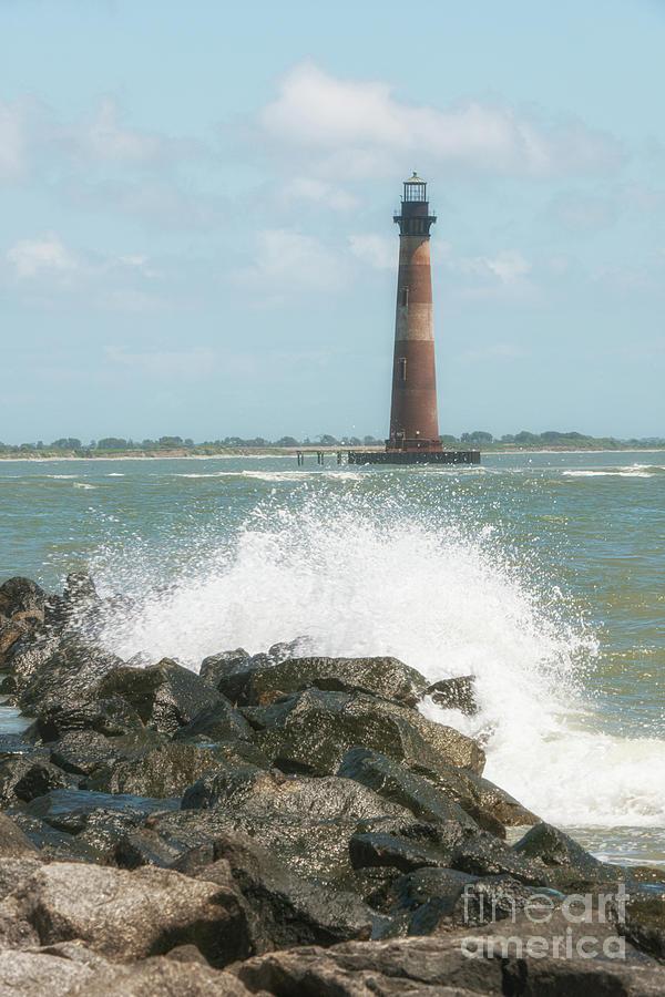 Salt Spray -  Morris Island Lighthouse In Charleston South Carolina Photograph