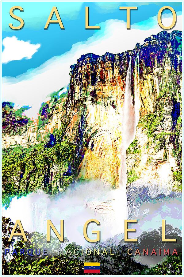 Angel Falls Digital Art - Salto Angel, Angel Falls, Venezuela by Jason Neptune