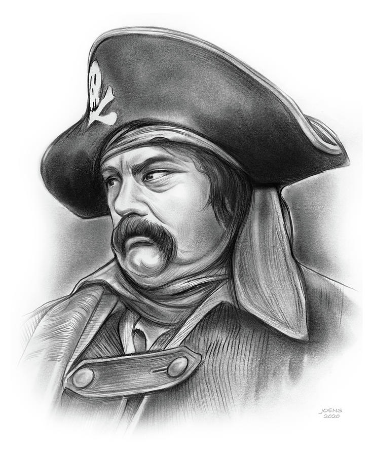 Pirate Drawing - Salty Pirate - pencil by Greg Joens