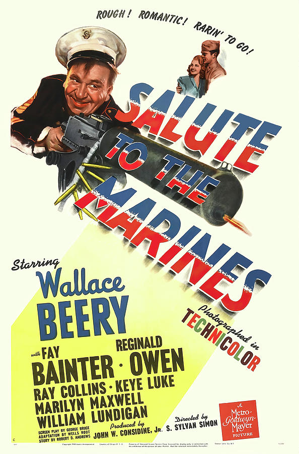 salute To The Marines With Wallace Beery, 1943 Mixed Media