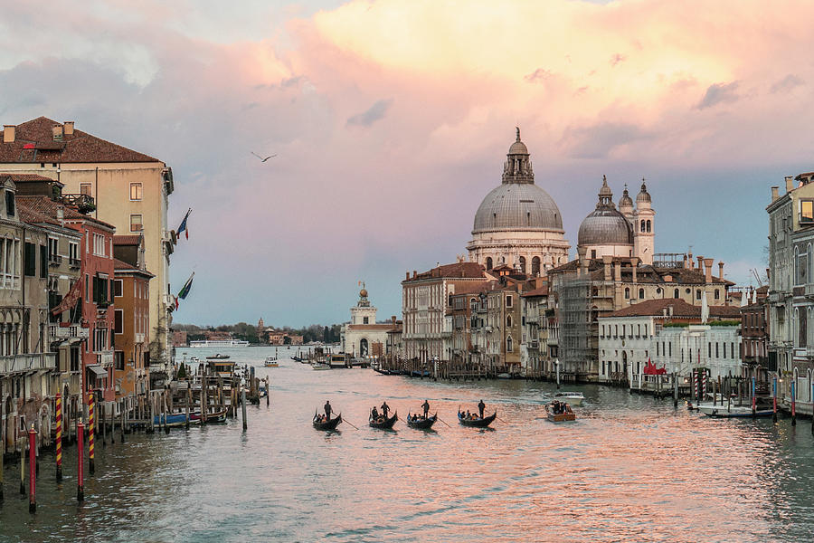 Sam_0343 - Four gondolas in the Sunset on the Gran Canal, Venice by Marco Missiaja