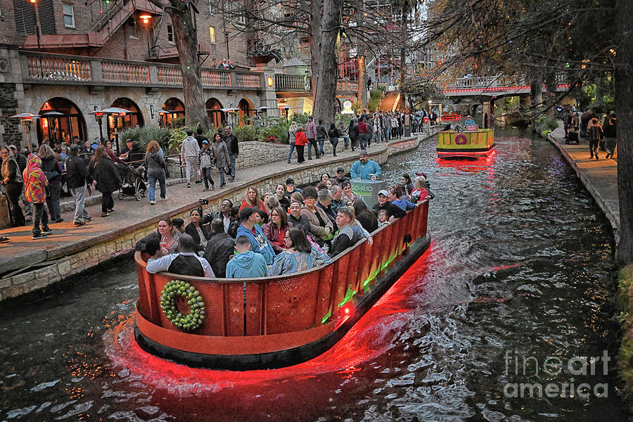 Fineart Photograph - San Antonio River Walk at Christmas by Norman Gabitzsch