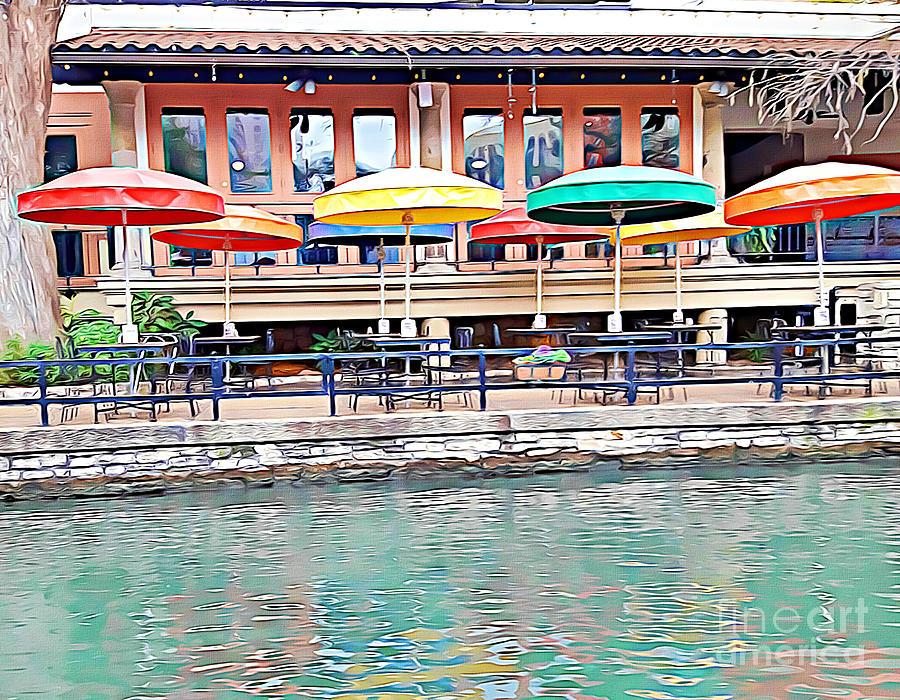 San Antonio Riverwalk Umbrellas by Tracy Ruckman